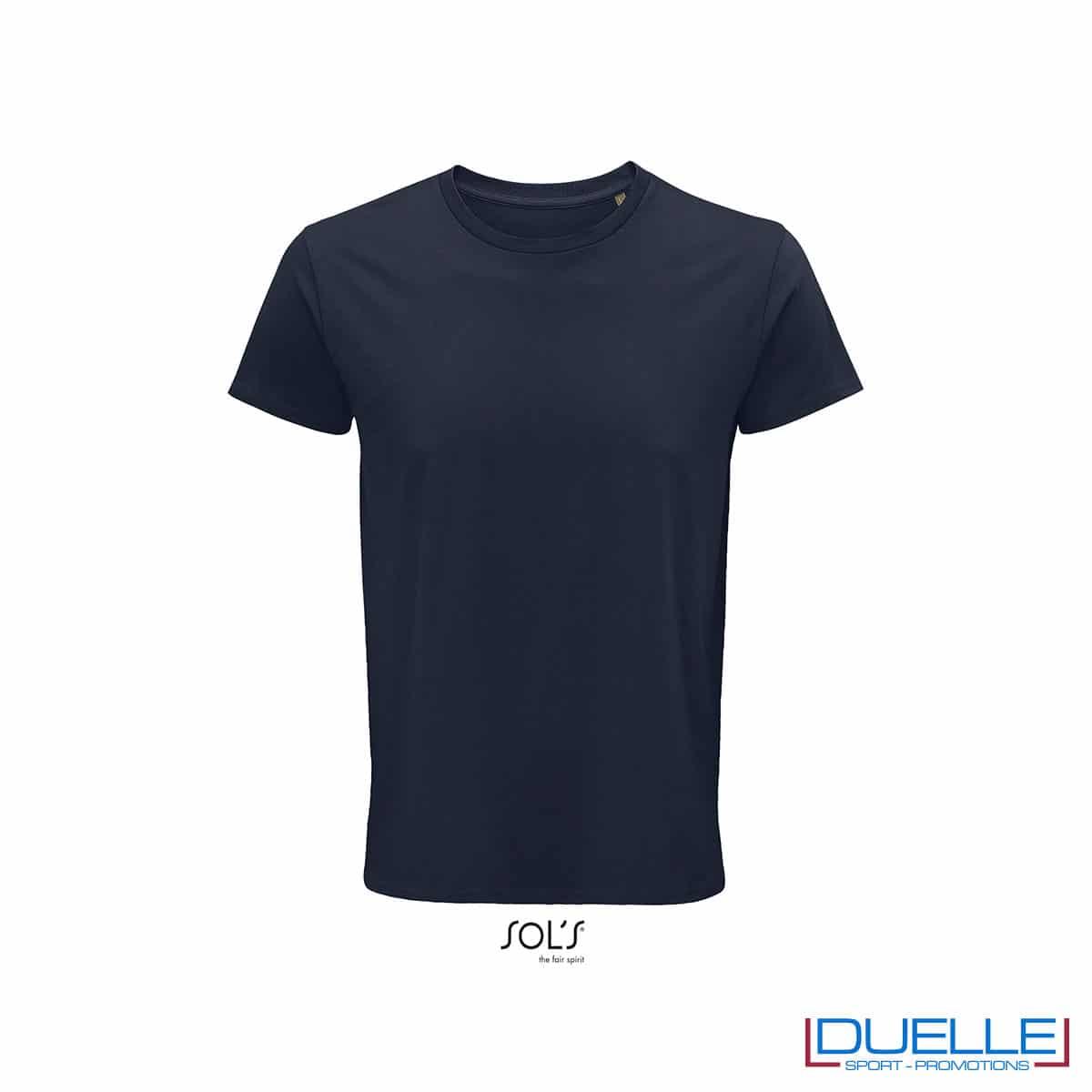 Maglietta ecosostenibile cotone biologico personalizzata colore blu oltremare