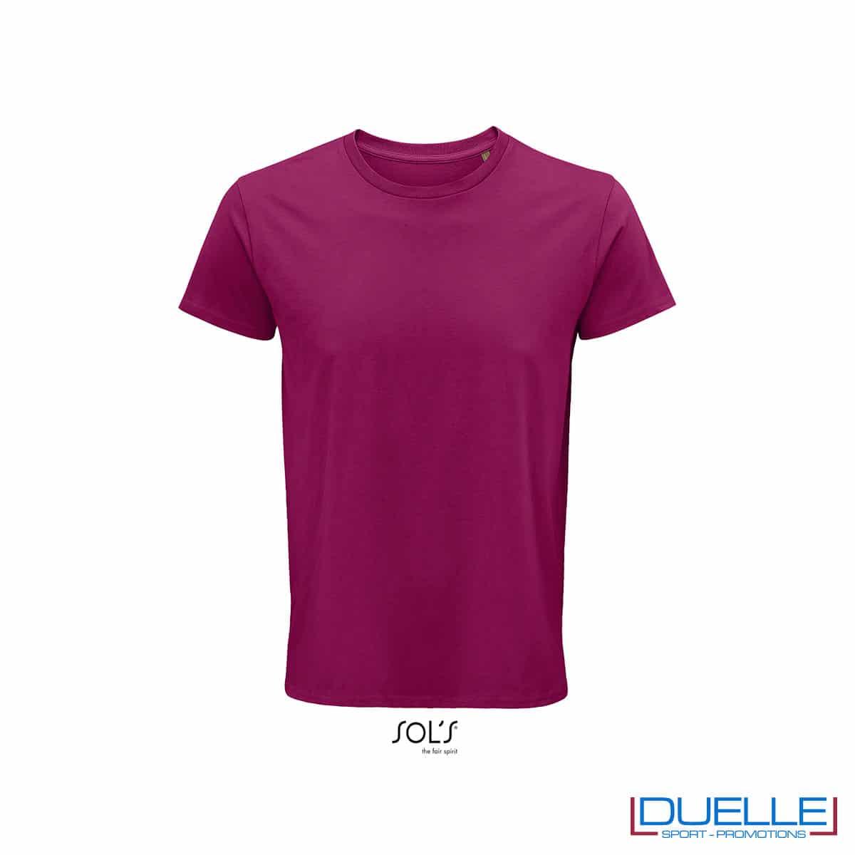 Maglietta ecosostenibile cotone biologico personalizzata colore fucsia