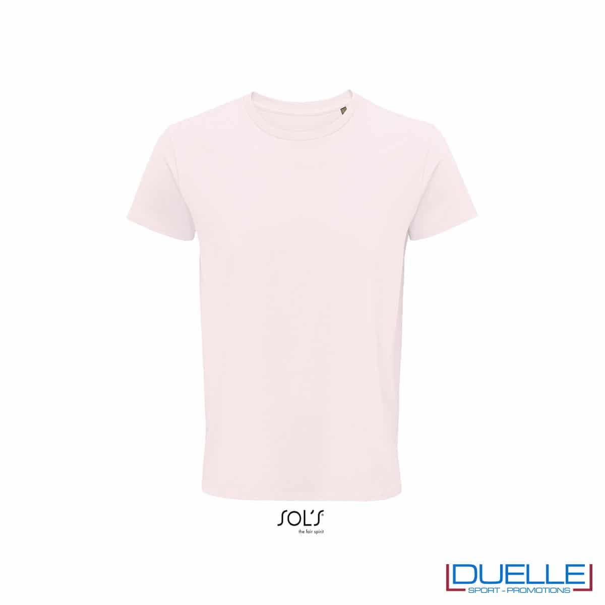 Maglietta ecosostenibile cotone biologico personalizzata colore rosa pallido