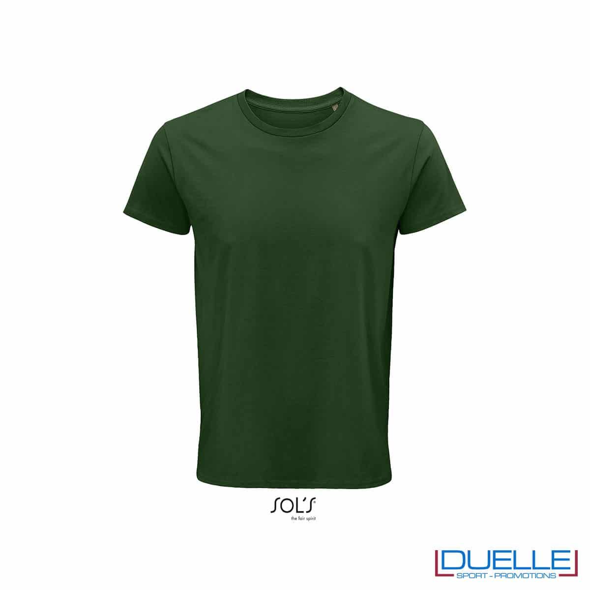 Maglietta ecosostenibile cotone biologico personalizzata colore verde bottiglia