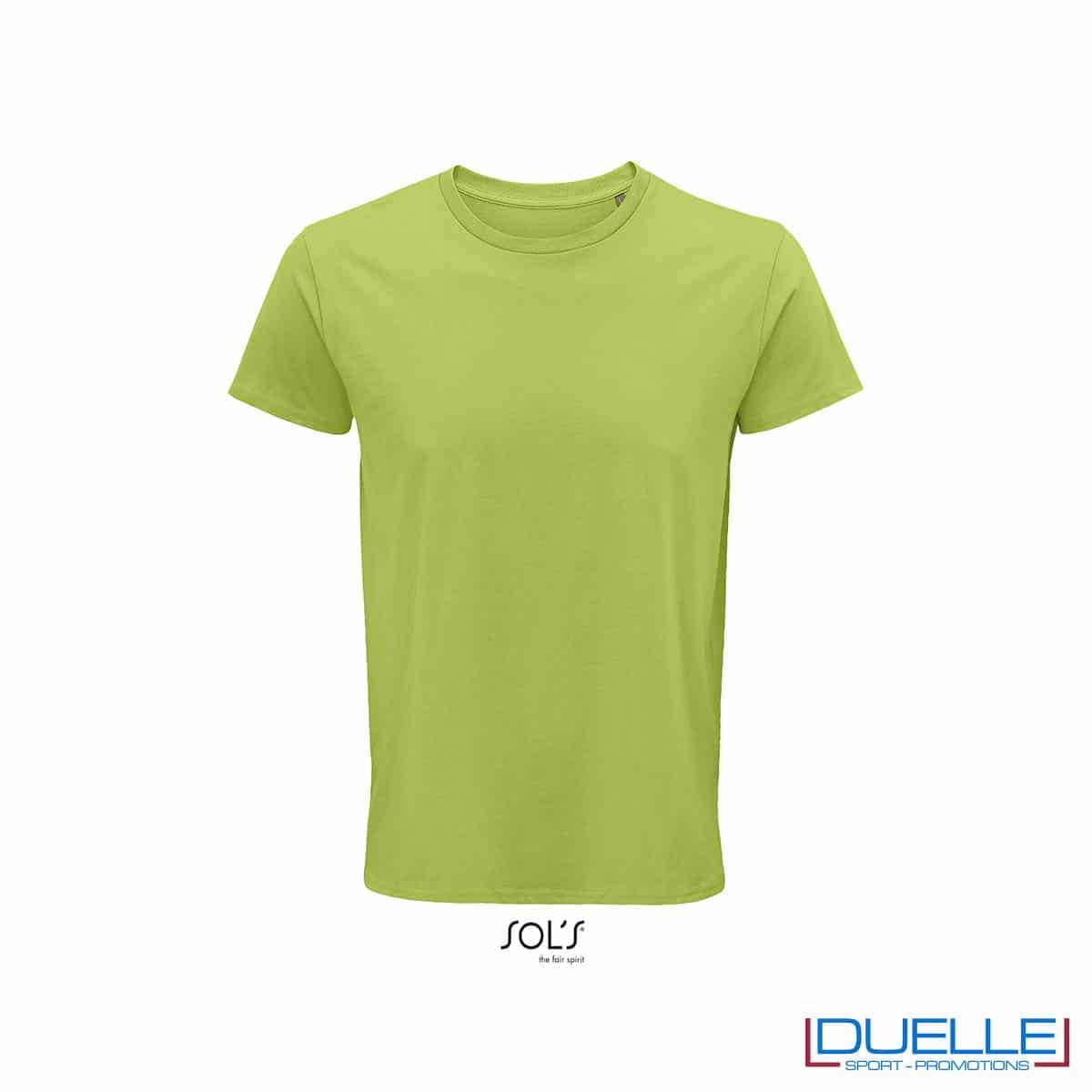 Maglietta ecosostenibile cotone biologico personalizzata colore verde mela