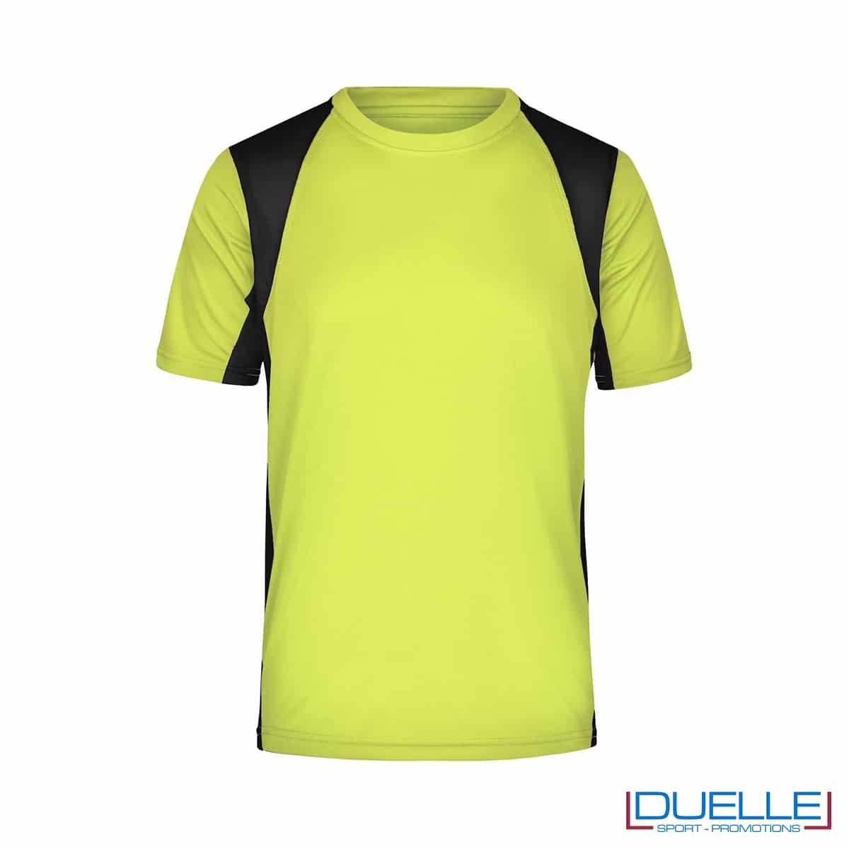 T-shirt running uomo personalizzata colore giallo fluo-nero