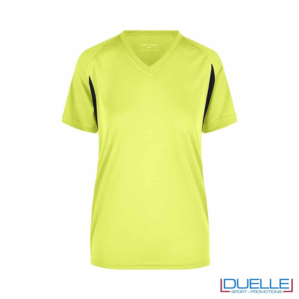 T-shirt running donna personalizzata colore giallo fluo-nero