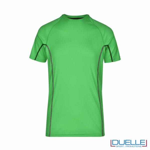 Maglia running Coolmax uomo colore verde personalizzata