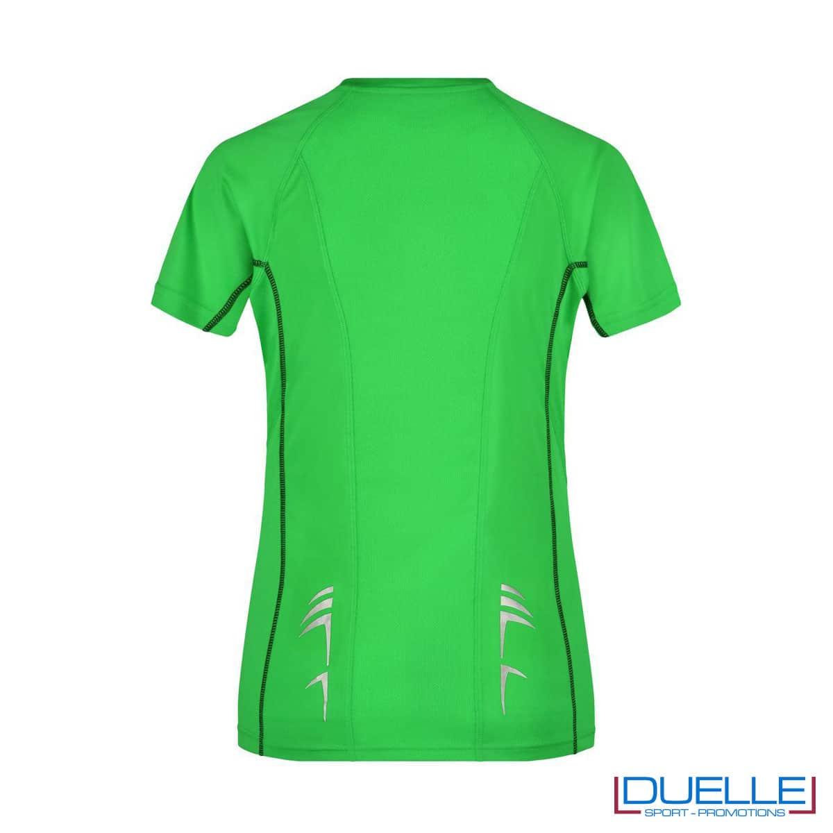 Retro maglia running Coolmax donna colore verde/nero personalizzata