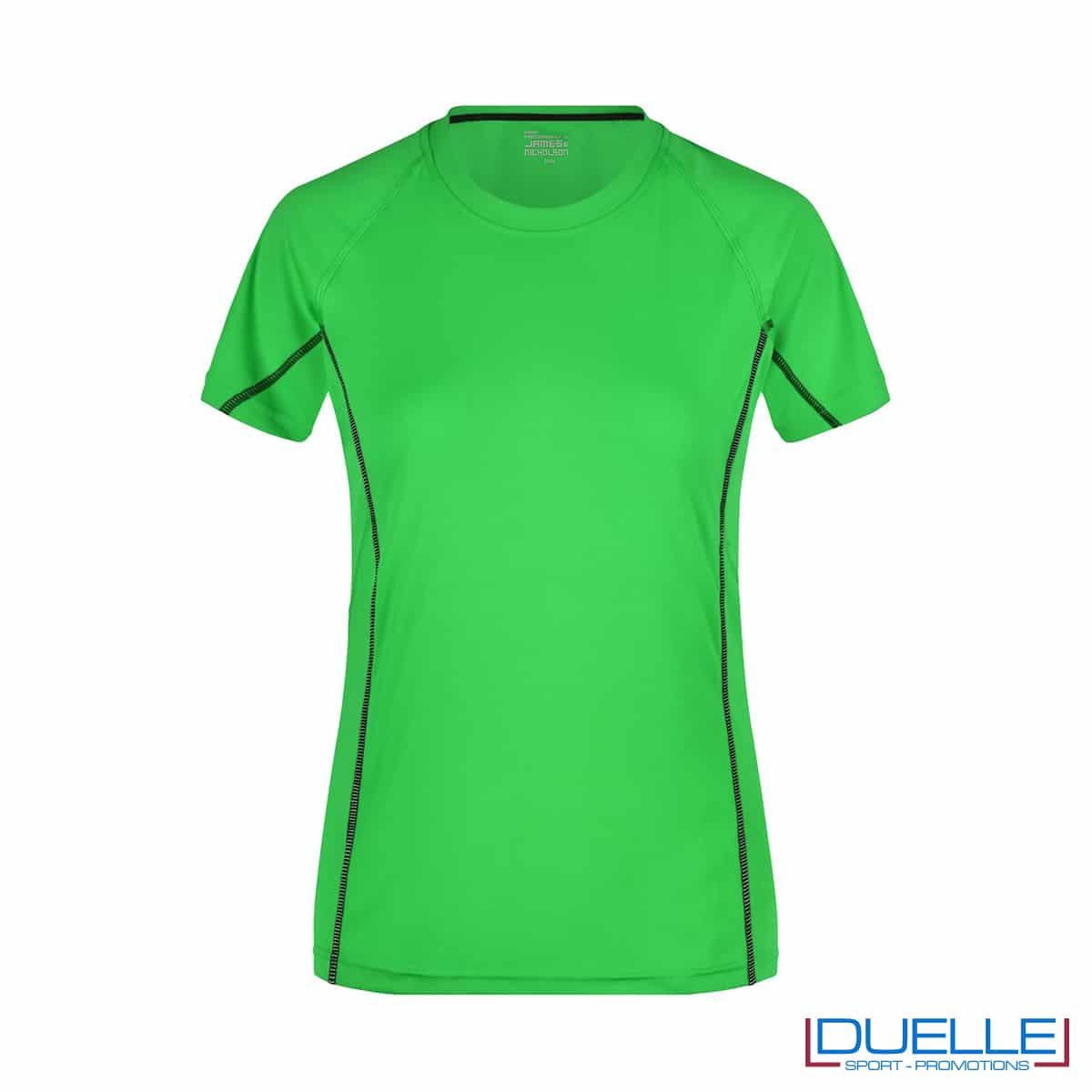Maglia running Coolmax donna colore verde/nero personalizzata