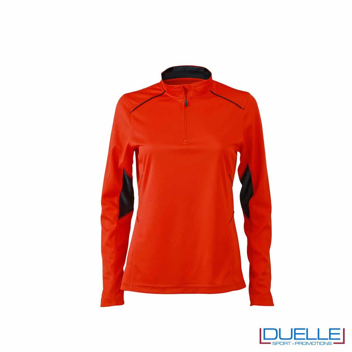 Maglia running con zip donna colore arancione personalizzata