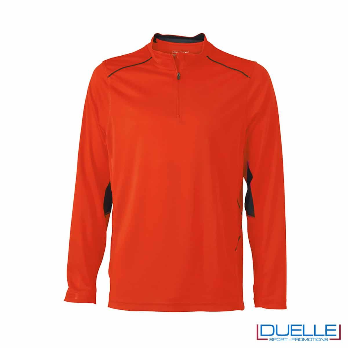 Maglia running con zip uomo colore arancione personalizzata