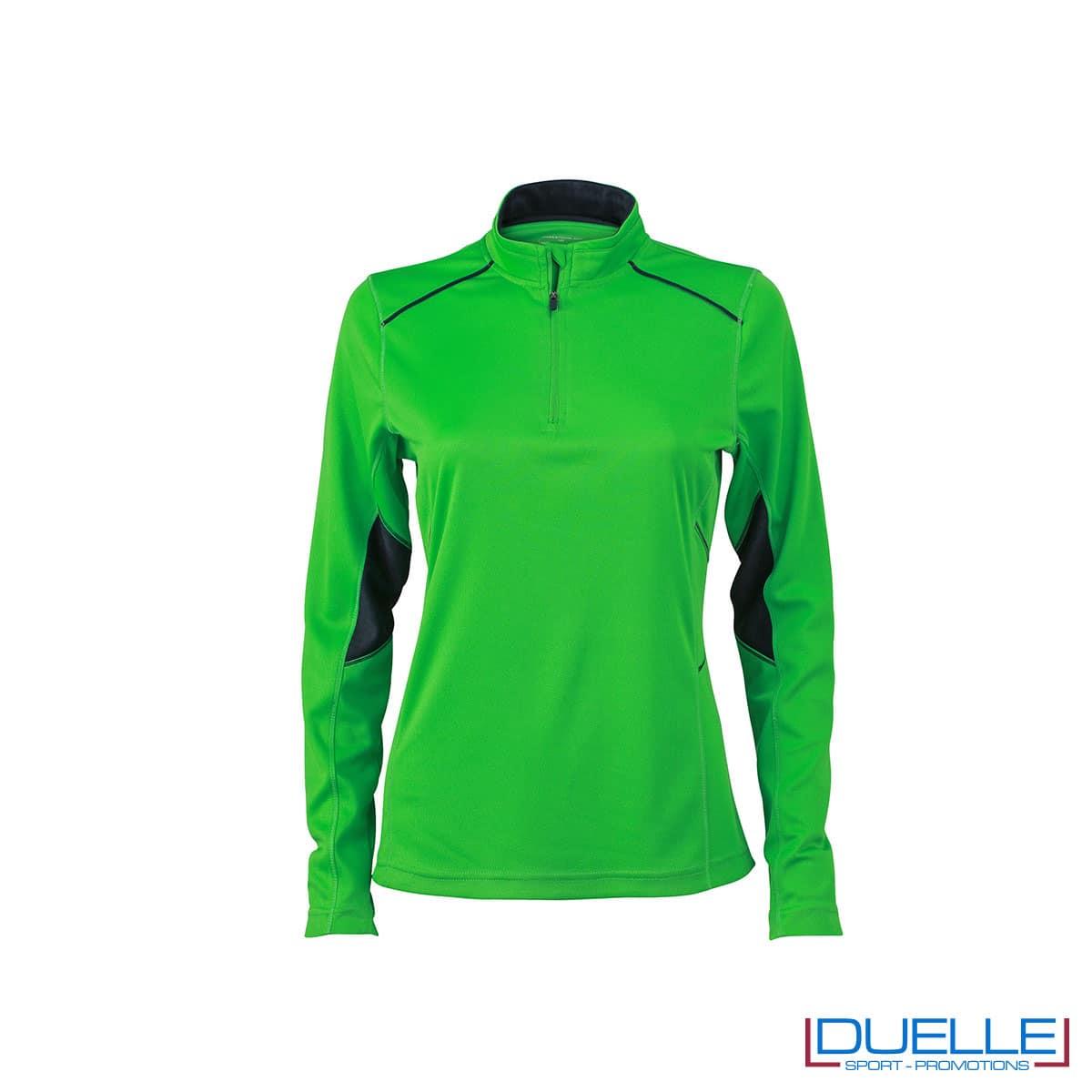 Maglia running con zip donna colore verde personalizzata