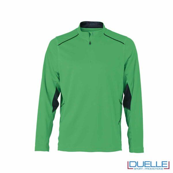 Maglia running con zip uomo colore verde personalizzata