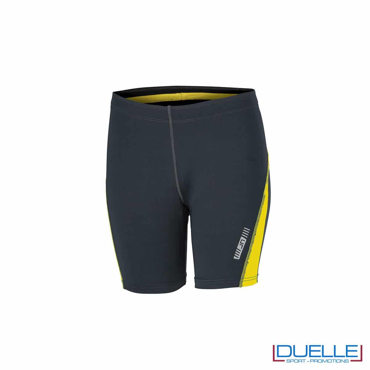 Pantaloncini running donna personalizzati colore antracite/giallo