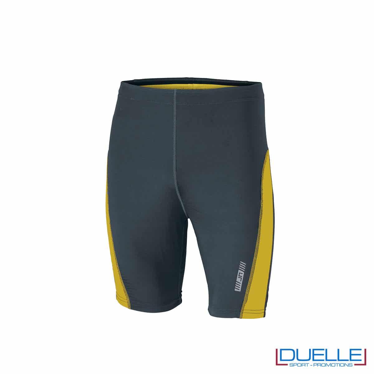 Pantaloncini running personalizzati colore antracite/giallo
