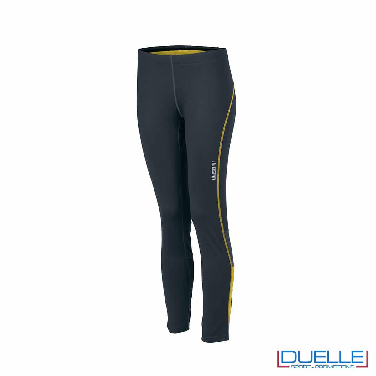 Pantaloni corsa donna antracite/giallo personalizzati