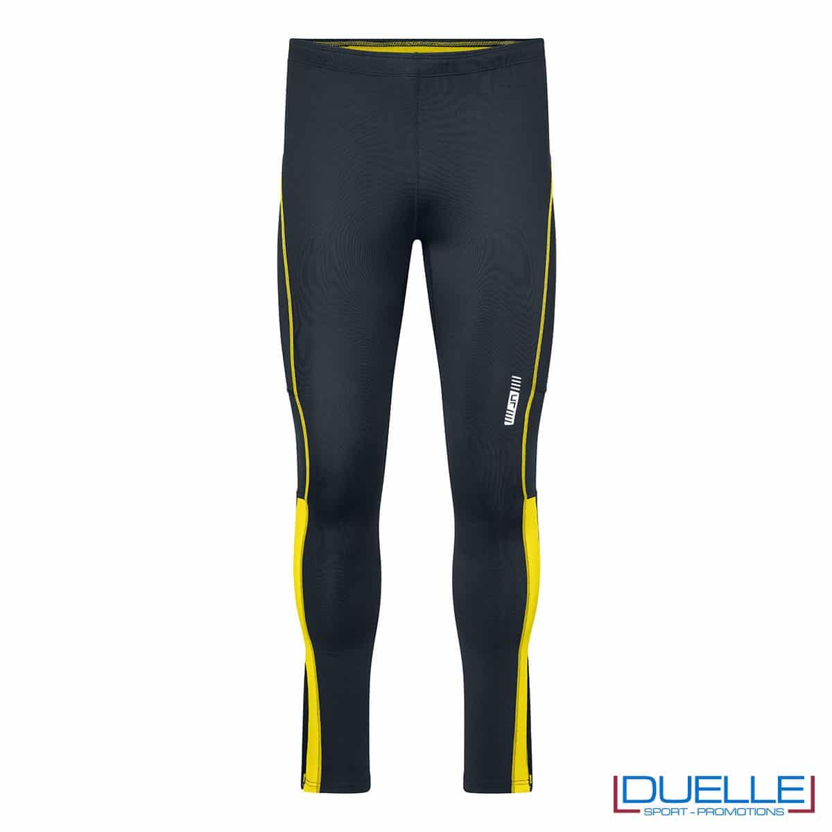 Pantaloni running antracite/giallo personalizzati