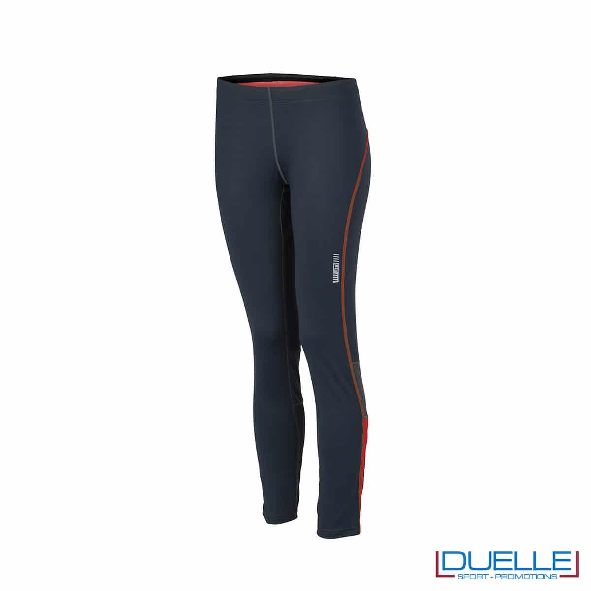 Pantaloni corsa donna antracite/arancione personalizzati