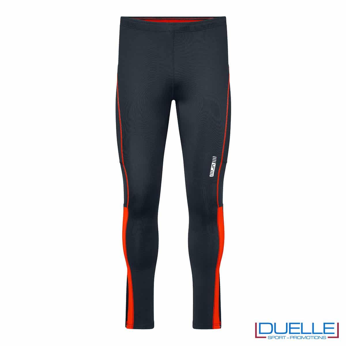 Pantaloni running antracite/arancio personalizzati