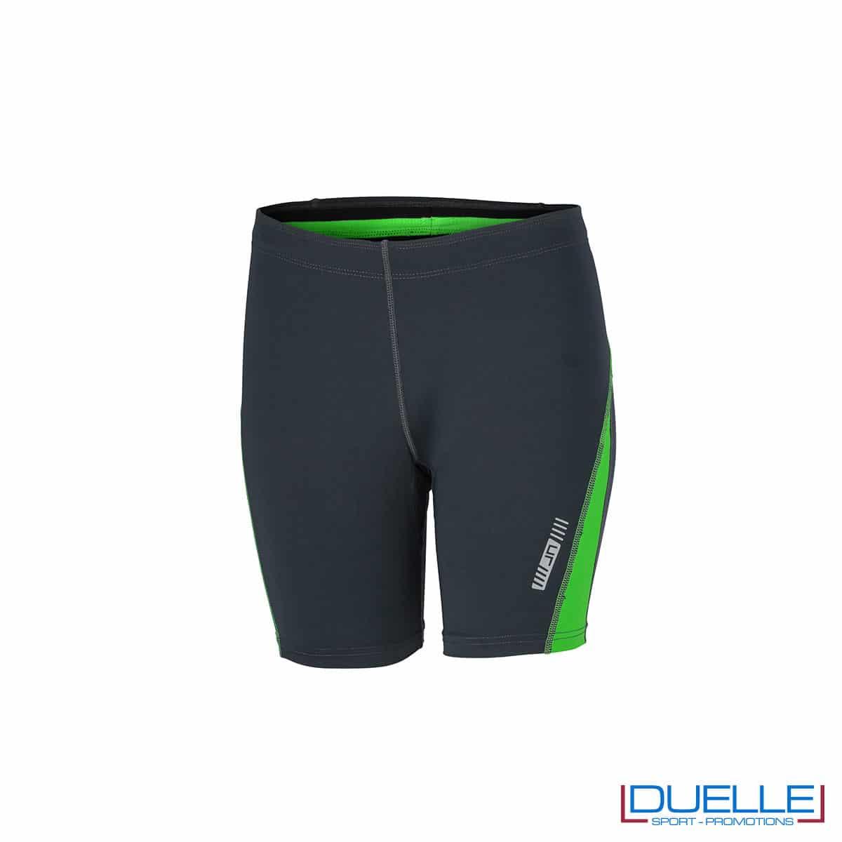 Pantaloncini running donna personalizzati colore antracite/verde