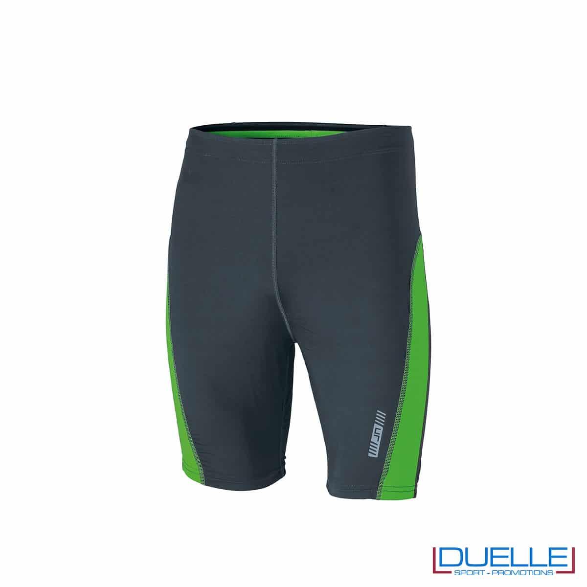 Pantaloncini running personalizzati colore antracite/verde