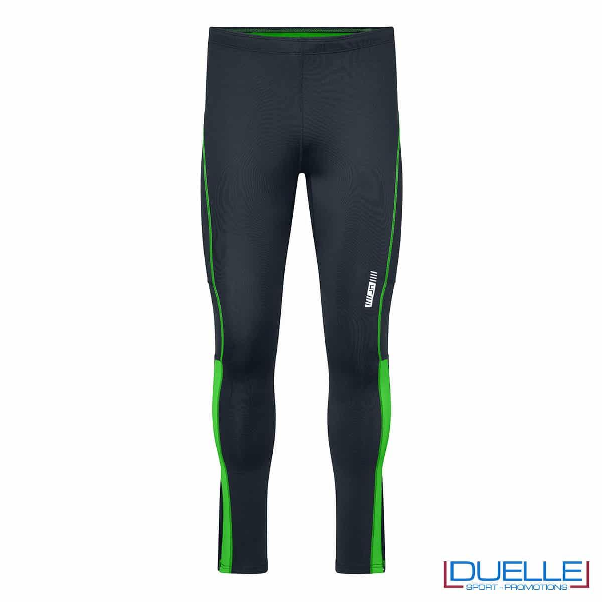 Pantaloni running antracite/verde personalizzati