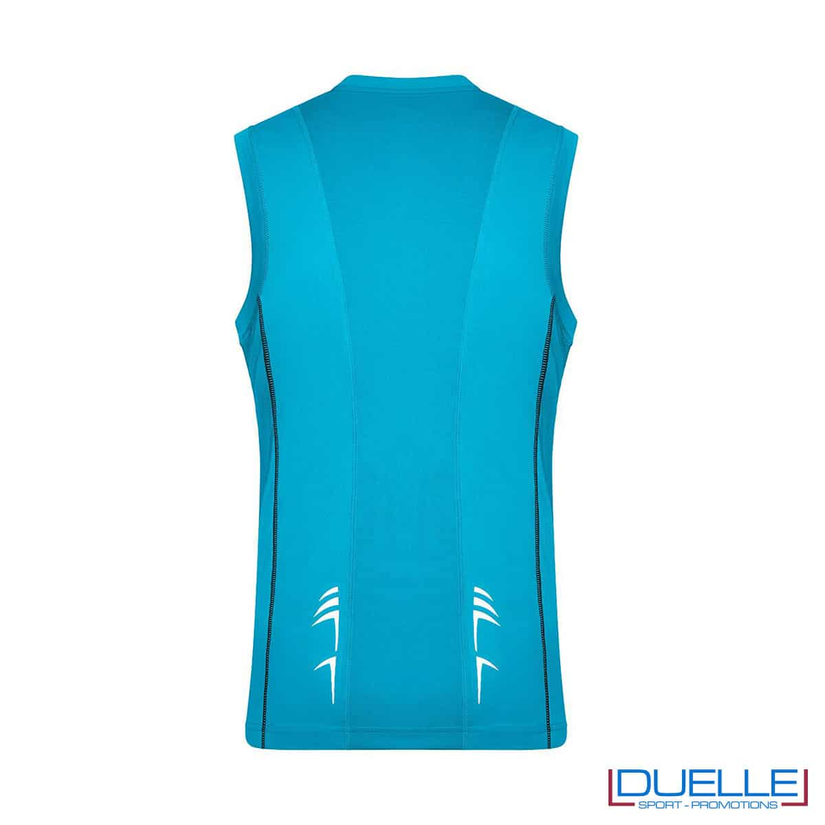 Retro canotta running uomo colore azzurro personalizzabile