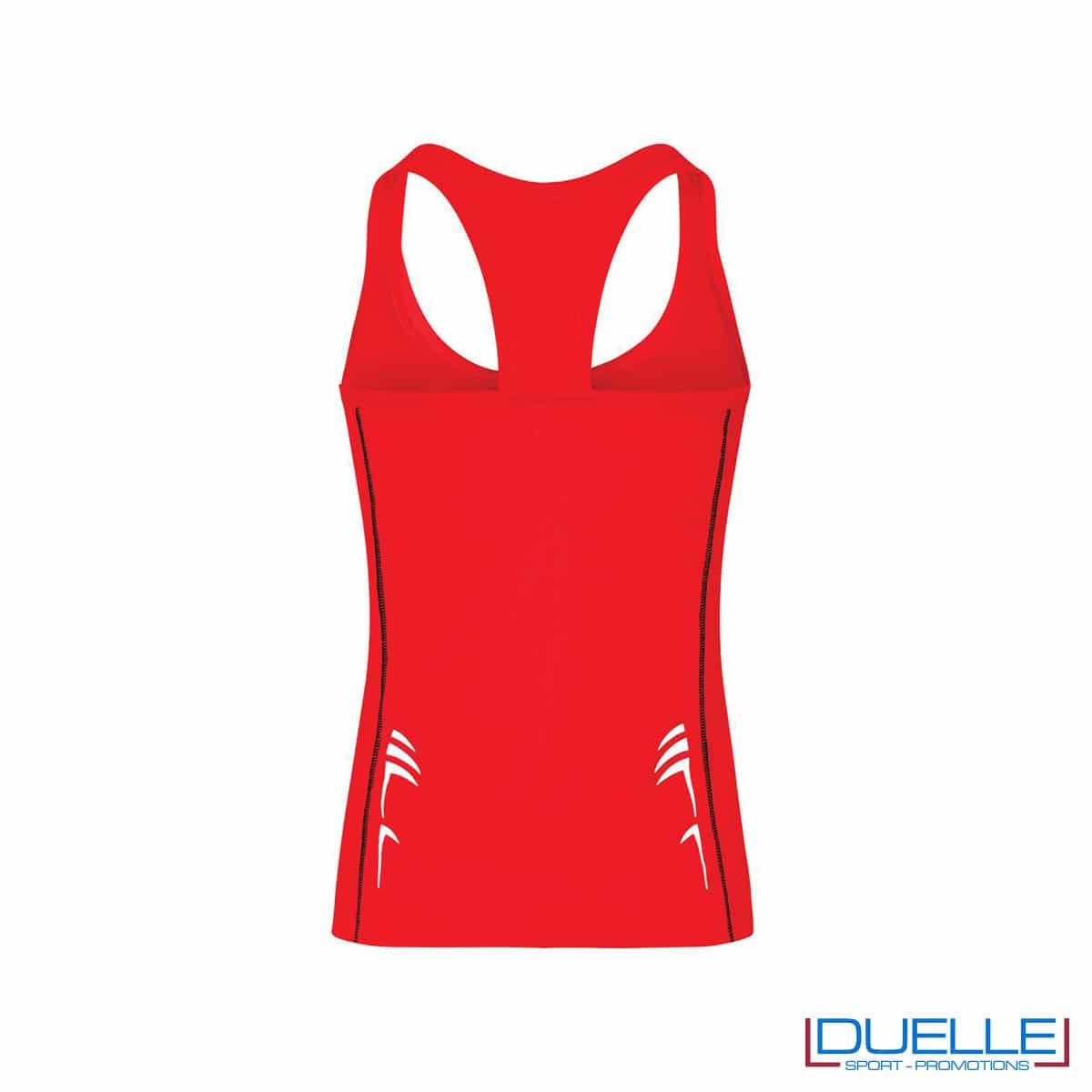 Retro canotta running donna colore rosso personalizzabile