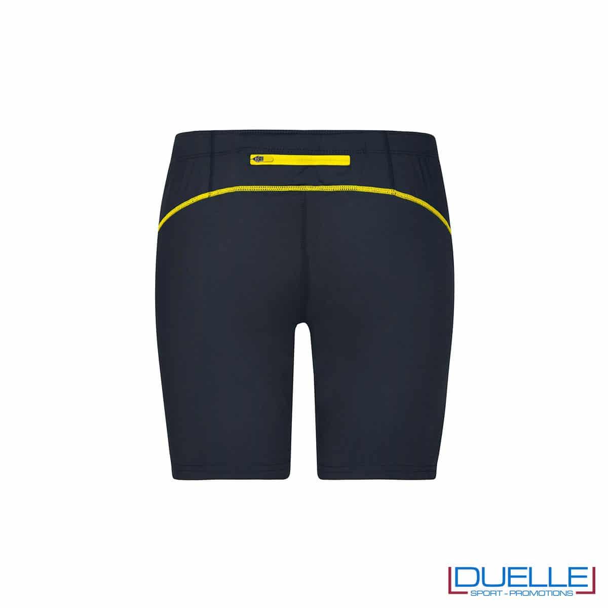 Retro pantaloncini running donna personalizzati colore antracite/giallo