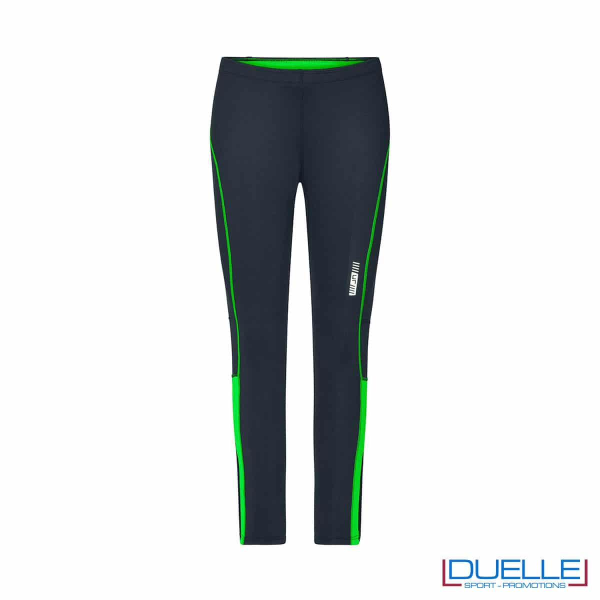 Pantaloni corsa donna antracite/verde personalizzati