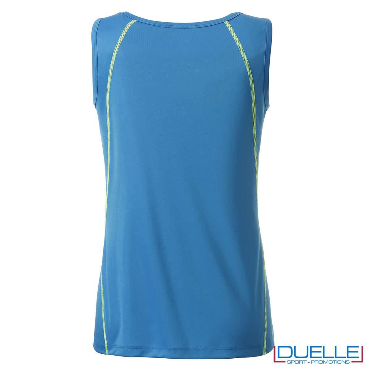 Retro canottiera donna azzurro fitness