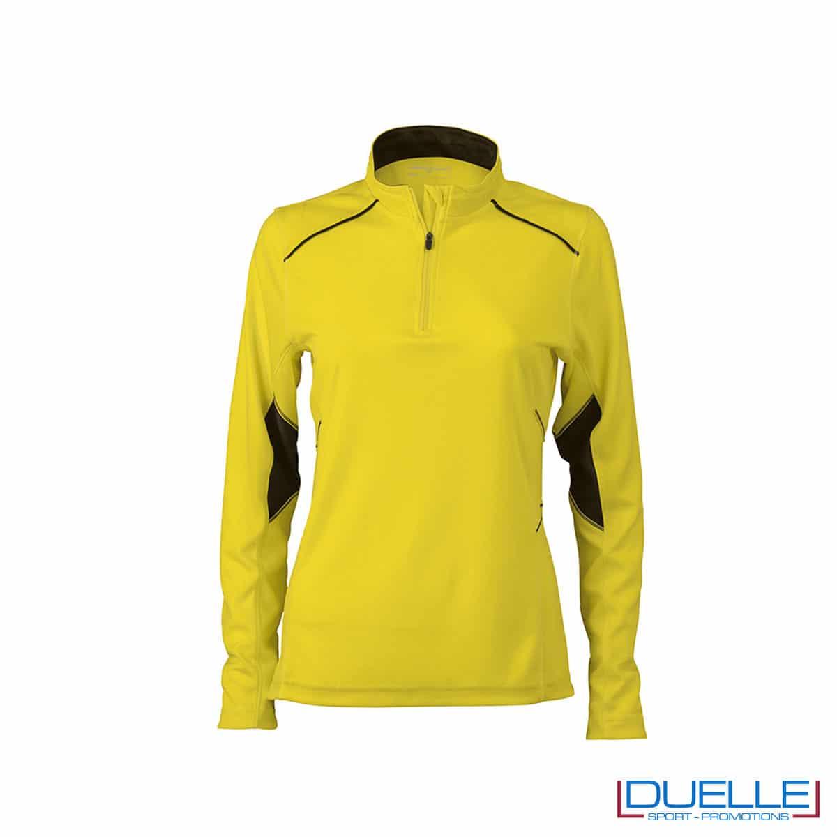Maglia running con zip donna colore giallo personalizzata