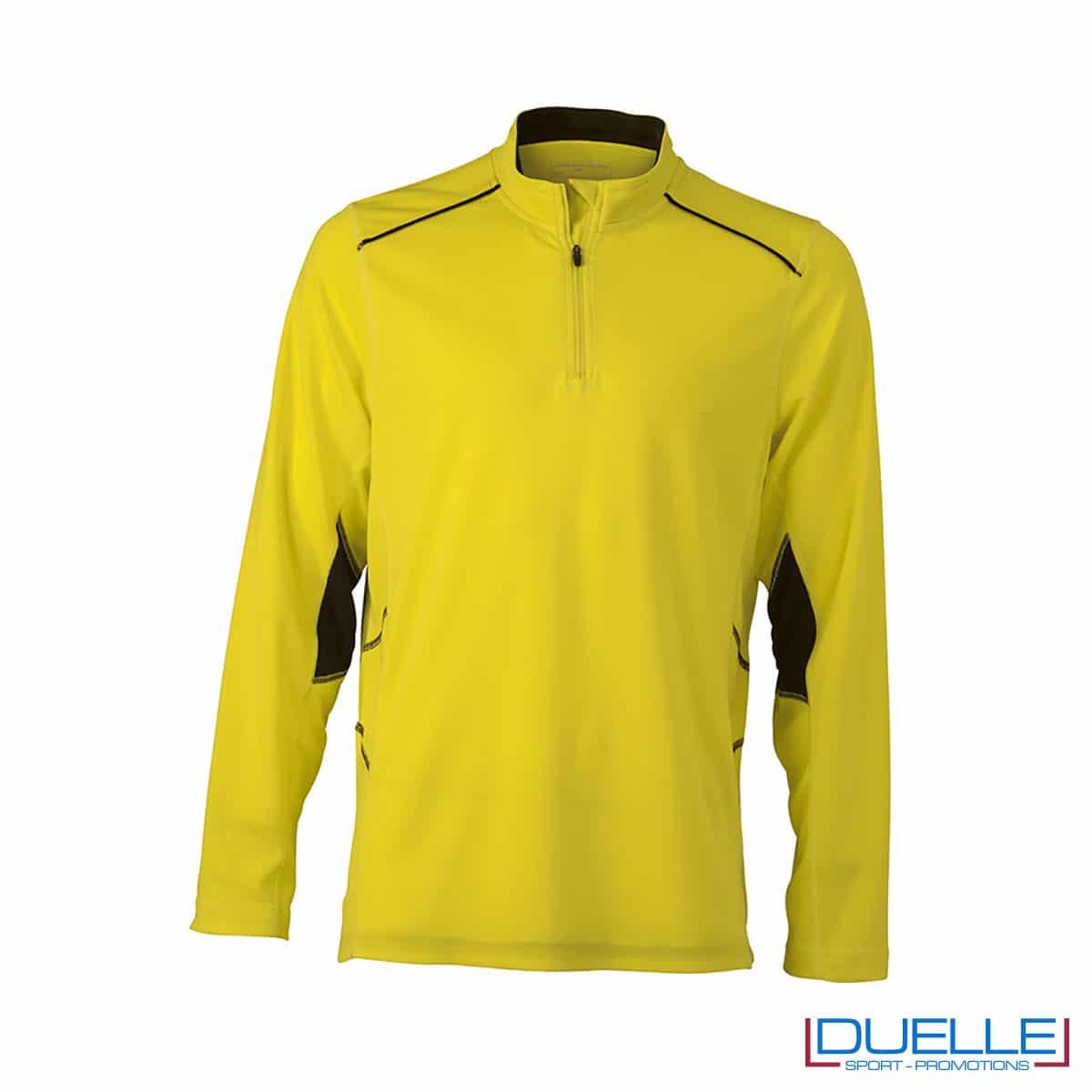Maglia running con zip uomo colore giallo personalizzata