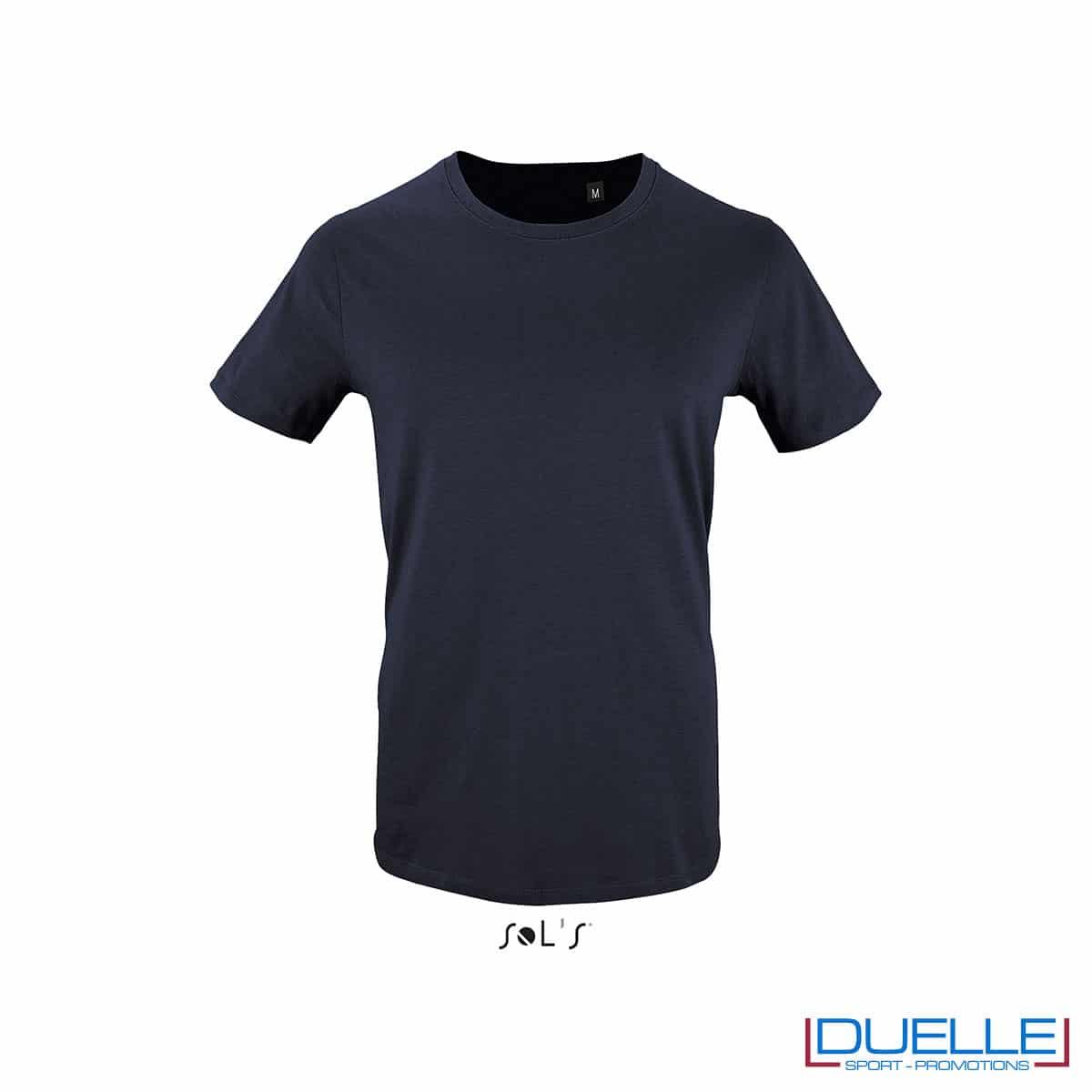 T-shirt 100% cotone biologico colore blu oltremare personalizzata con il tuo logo