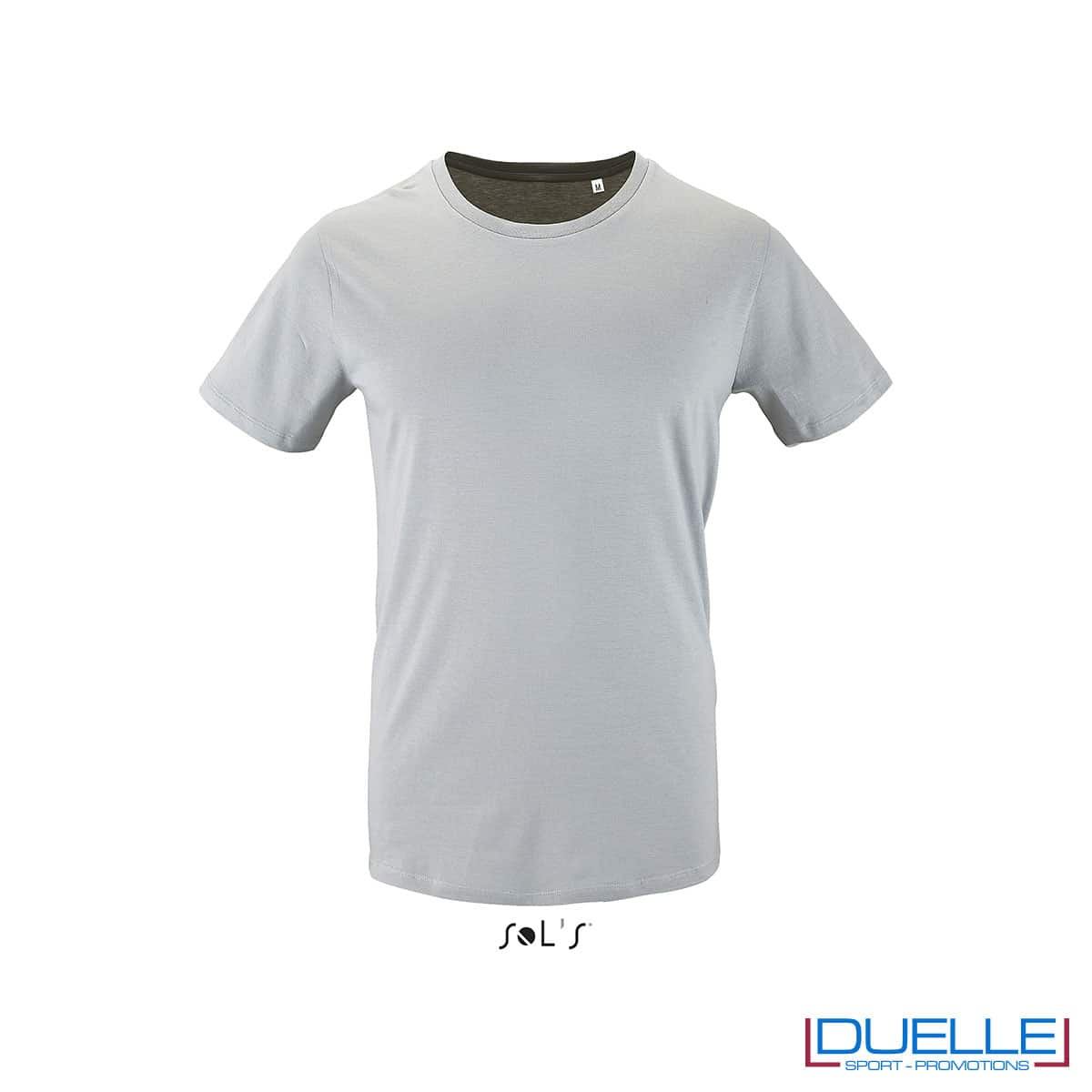 T-shirt 100% cotone biologico colore grigio personalizzata con il tuo logo