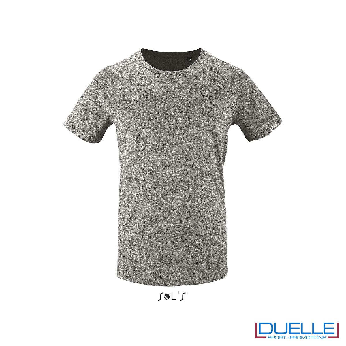 T-shirt 100% cotone biologico colore grigio melange personalizzata con il tuo logo