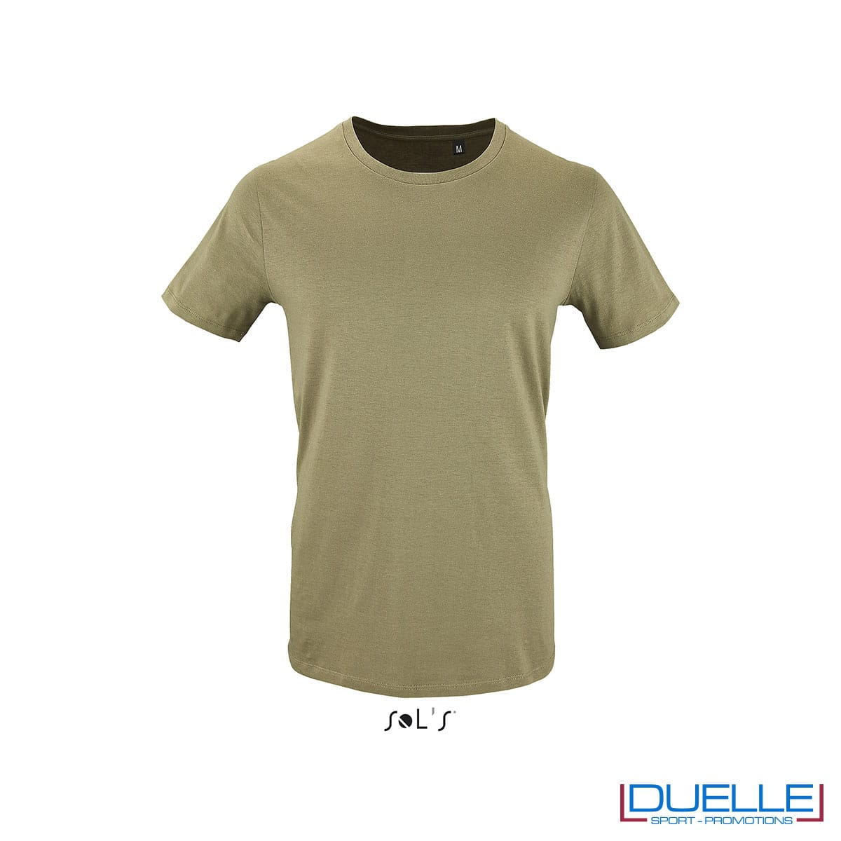 T-shirt 100% cotone biologico colore kaki personalizzata con il tuo logo
