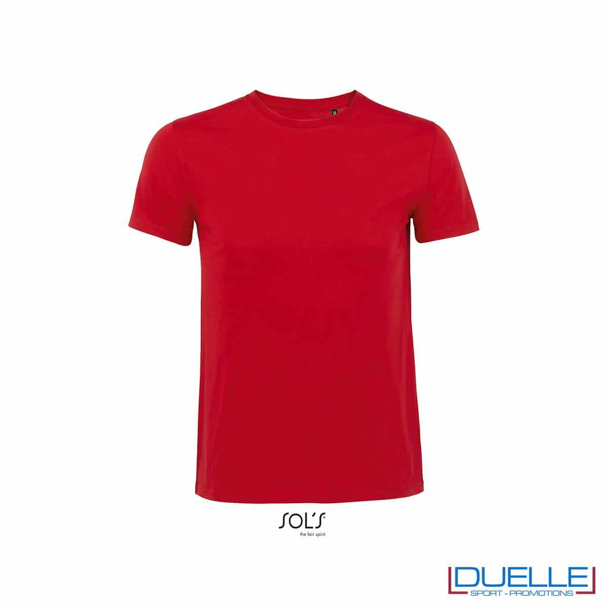 T-shirt 100% cotone biologico colore rosso personalizzata con il tuo logo