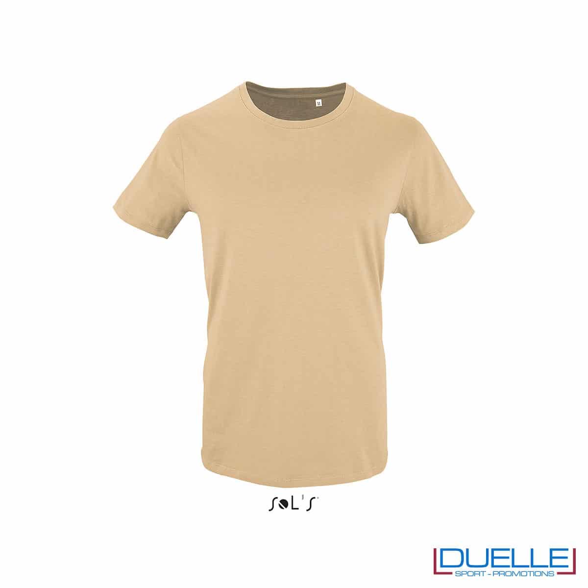 T-shirt 100% cotone biologico colore sabbia personalizzata con il tuo logo
