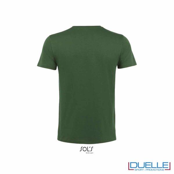 T-shirt 100% cotone biologico colore verde bottiglia retro