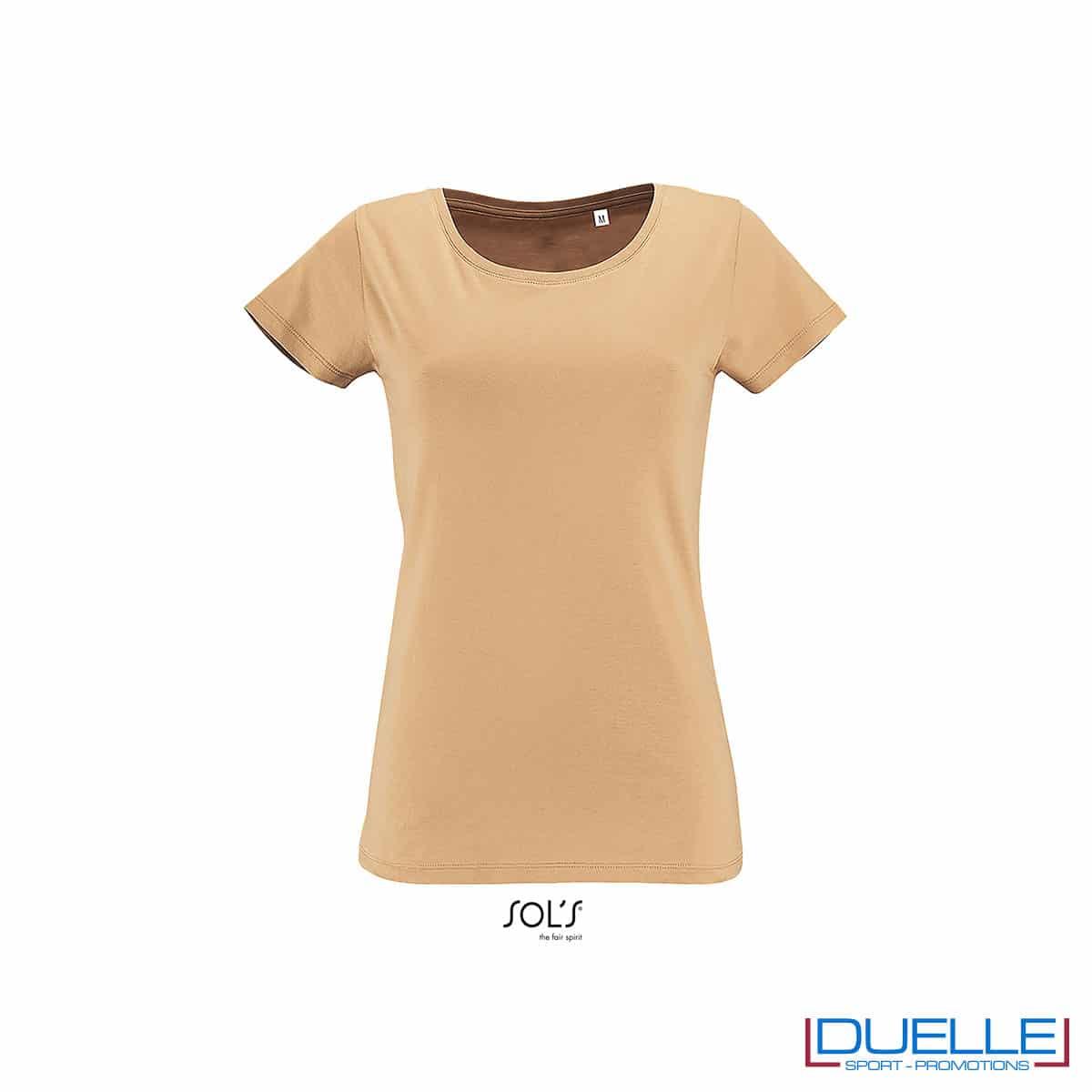 maglietta donna color sabbia 100% cotone