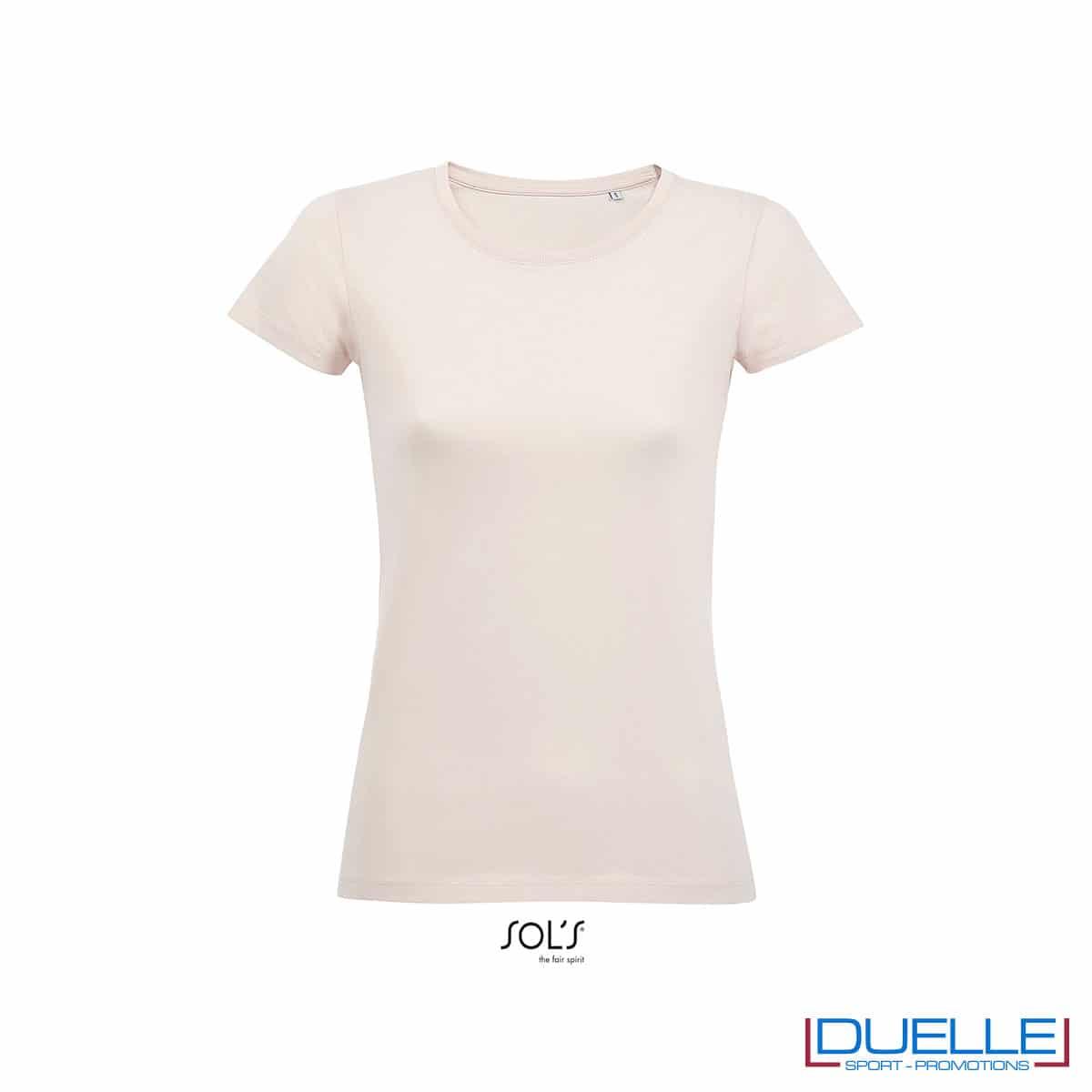 maglietta rosa pastello donna cotone