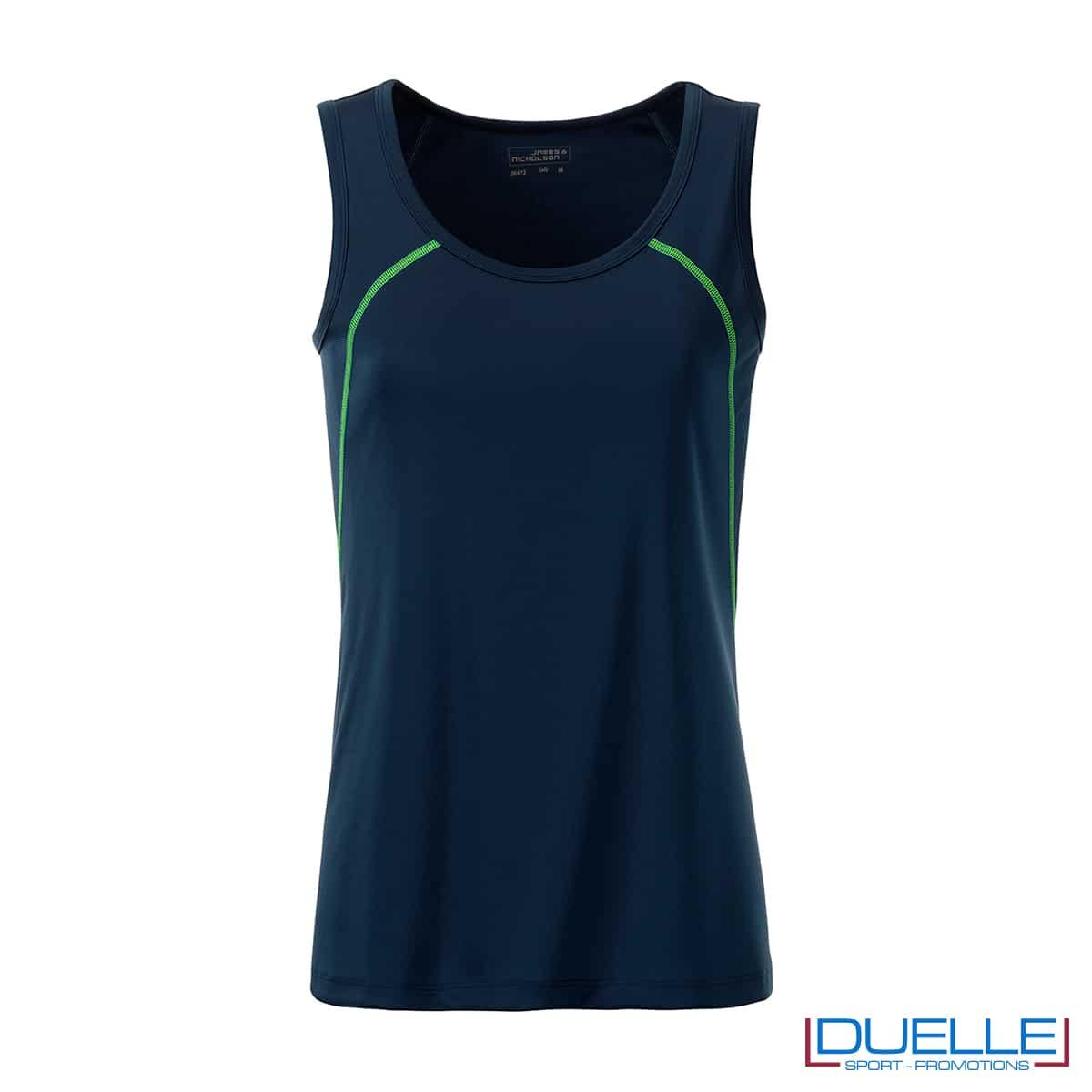 Canotta donna sport traspirante colore blu navy