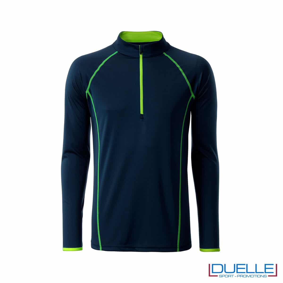 T-shirt manica lunga con zip colore blu navy personalizzata
