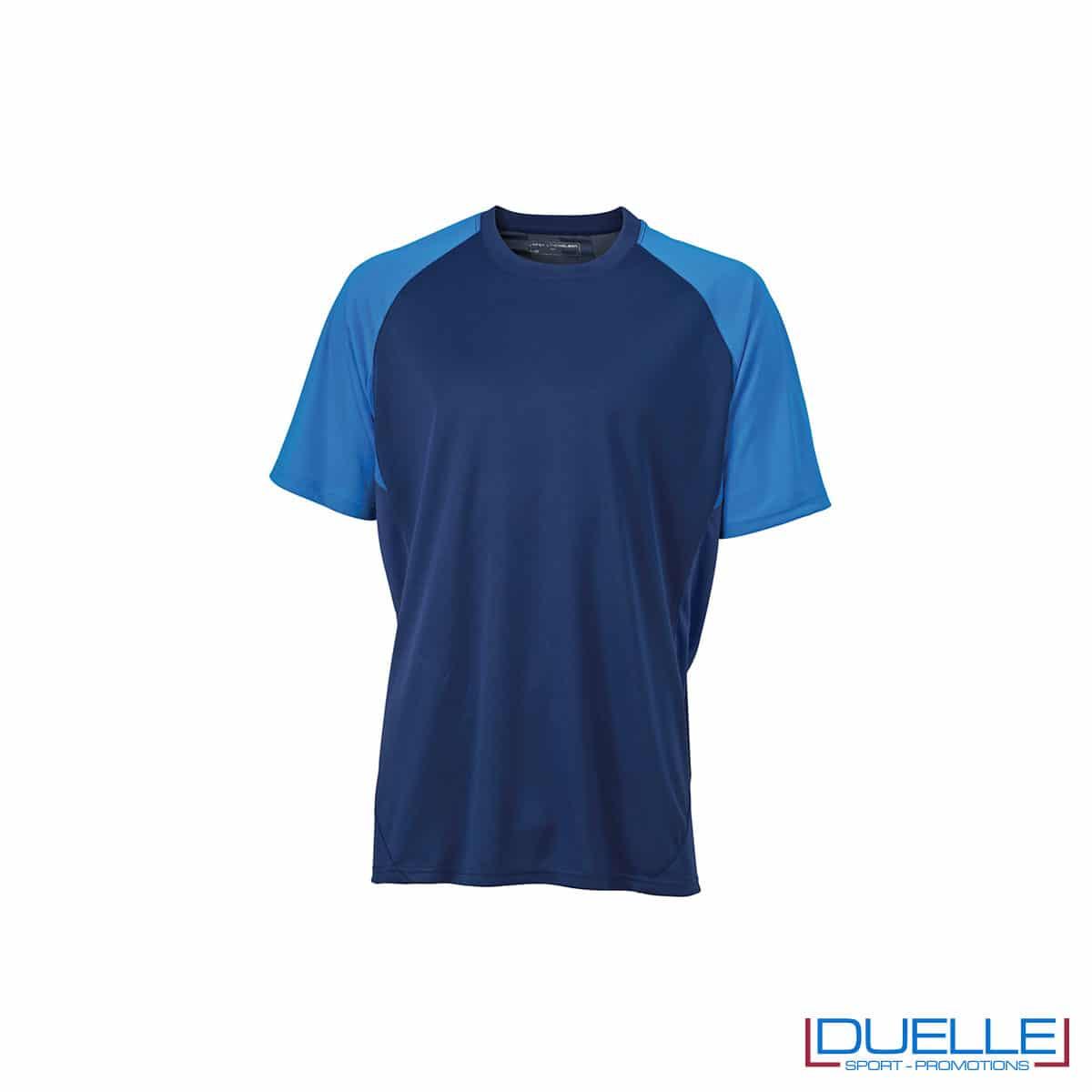 Maglietta calcio personalizzabile colore blu navy-azzurro