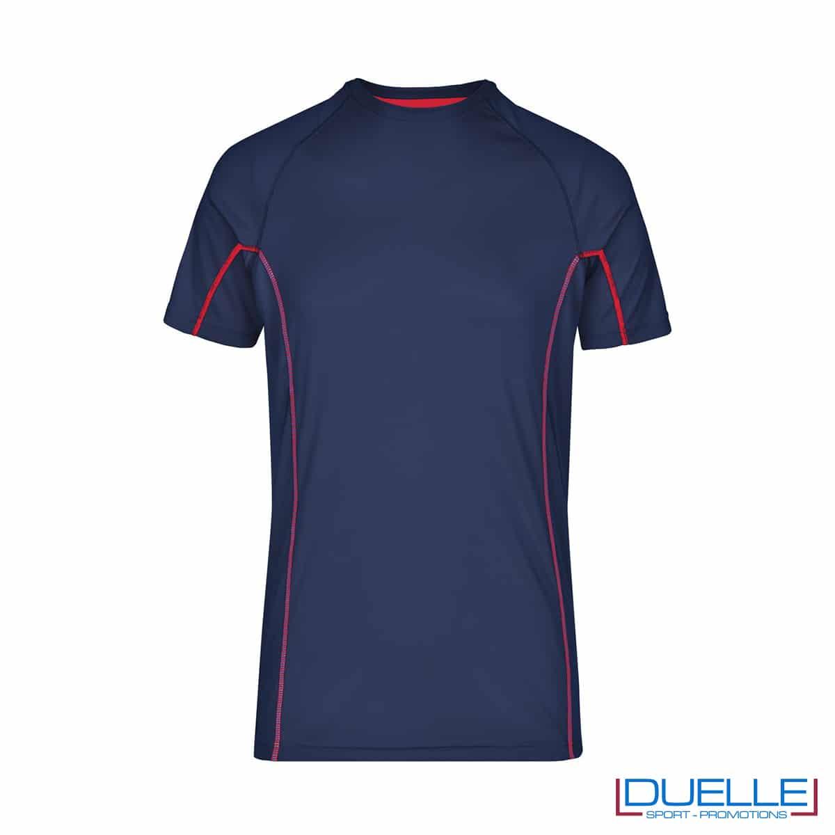Maglia running Coolmax uomo colore blu navy/rosso personalizzata