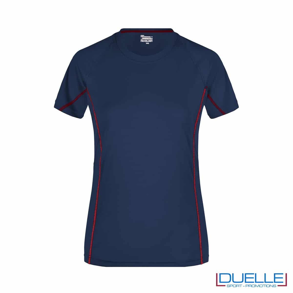Maglia running Coolmax donna colore blu navy/rosso personalizzata