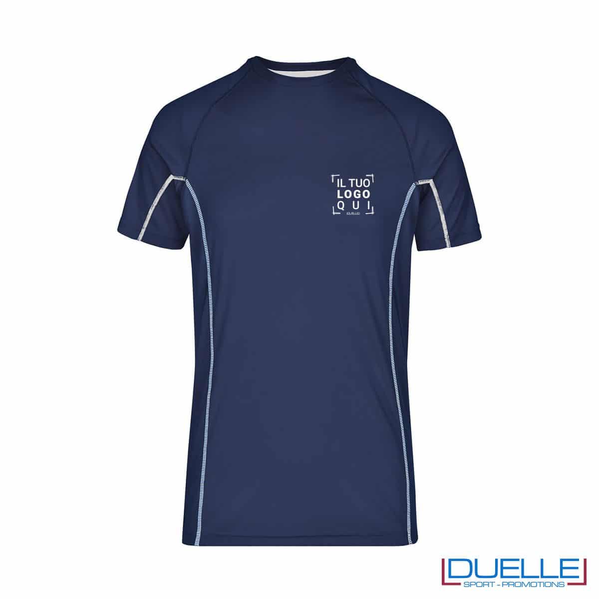Maglia running Coolmax uomo colore blu navy/bianco personalizzata