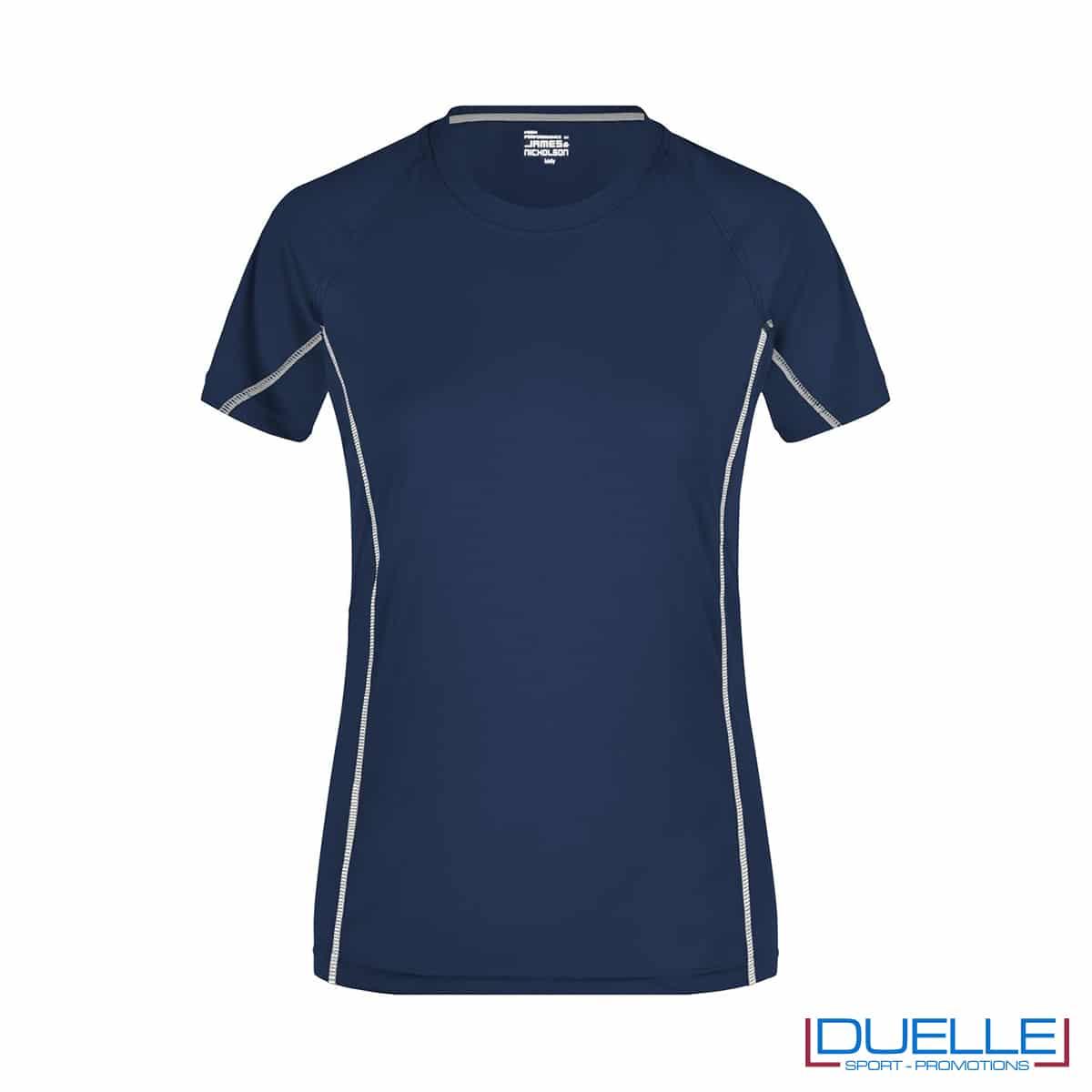 Maglia running Coolmax donna colore blu navy/bianco personalizzata