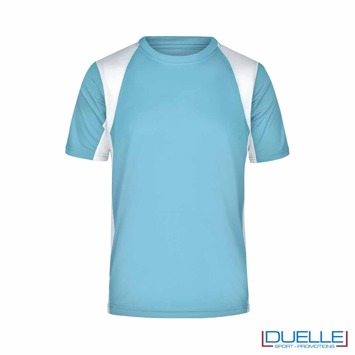 T-shirt running uomo personalizzata colore celeste-bianco