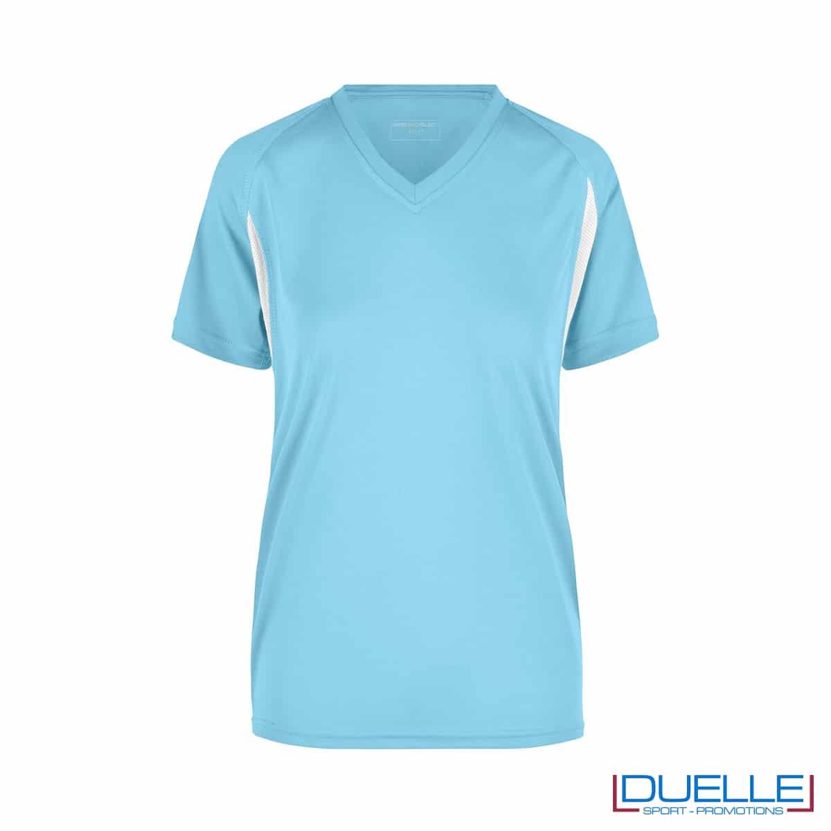 T-shirt running donna personalizzata colore celeste-bianco