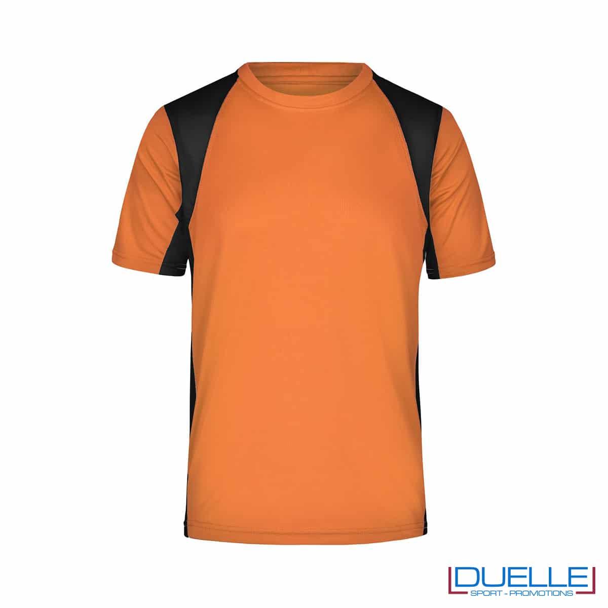 T-shirt running uomo personalizzata colore arancione-nero