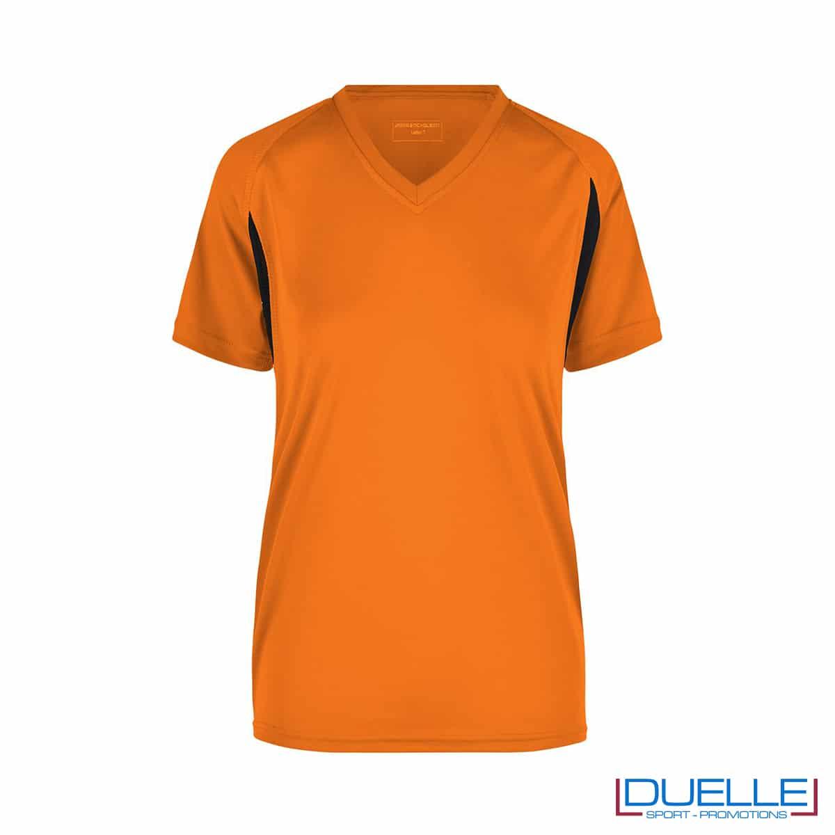 T-shirt running donna personalizzata colore arancione-nero